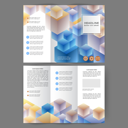 Color tri fold business brochure design template with abstract cubes