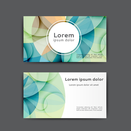 Color business card template with abstract lines and waves Stock Vector - 124890016