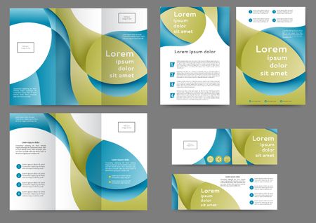 Set of color abstract brochure template with abstract lines and waves 向量圖像