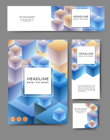 Set of advertising flyers and banners with abstract cubes