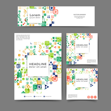 Set of color abstract brochure and banner template with geometric elements Vektorové ilustrace