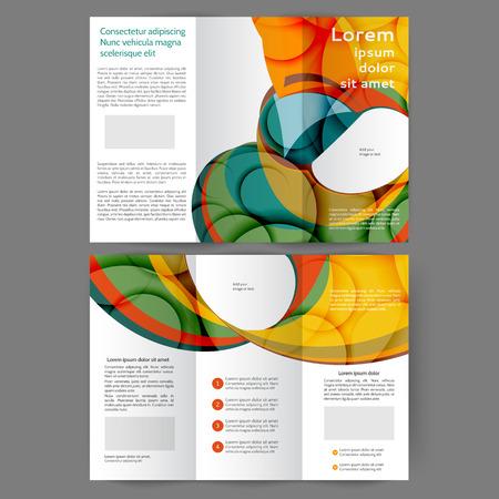 Color tri fold business brochure design with abstract lines and waves Ilustração