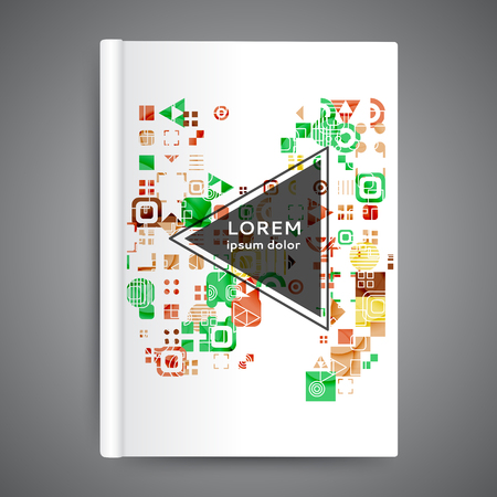 Color book design template. Annual report with geometric elements