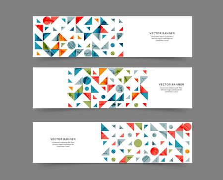 Satz abstrakte Web-Banner-Vorlagen mit geometrischem Elementhintergrund Vektorgrafik