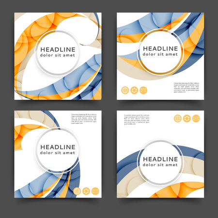 Set of square color brochures, books template with abstract lines and waves Ilustración de vector