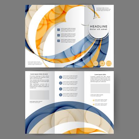 Color tri fold business brochure design with abstract lines and waves Foto de archivo - 123122610