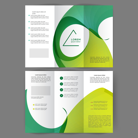 Color tri fold business brochure design with abstract lines and waves Foto de archivo - 123123067