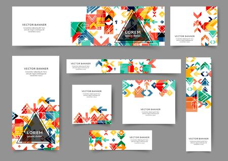 Set of abstract web banner templates with geometric elements background. Different sizes
