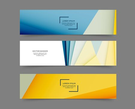 Set of abstract web banner templates with geometric elements background Vector Illustration