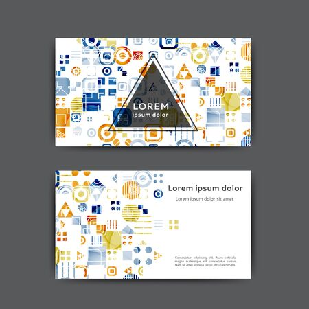 Color business card template with geometric elements