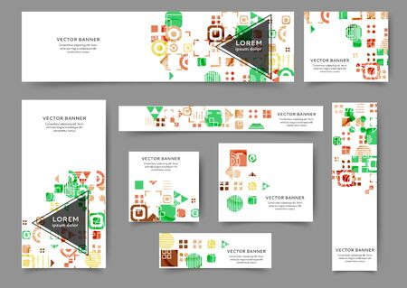 Set of abstract web banner templates with geometric elements background. Different sizes Banco de Imagens - 130803613