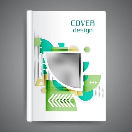 Color book design with abstract geometric elements