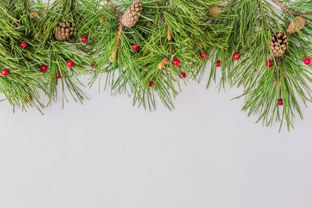 Holiday border with christmas branches and decoration on a light background Stock Photo