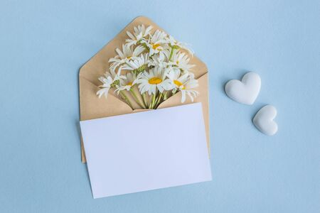 Mockup white greeting card and envelope with white camomiles on a light blue background Foto de archivo