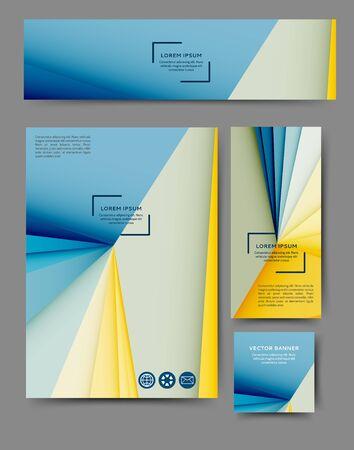 Ensemble de dépliants publicitaires et de bannières avec des éléments géométriques abstraits