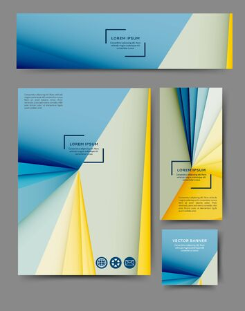Set of advertising flyers and banners with abstract geometric elements