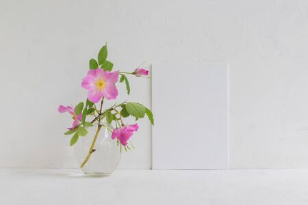 Mockup with a white frame and pink rose hips flowers in a vase on a light background