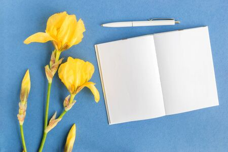 Mockup notebook with iris flower and blue background empty space for your text, top view 写真素材
