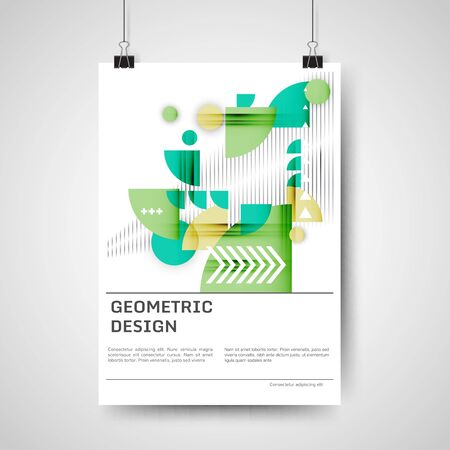 Abstract colorful poster design with geometric elements