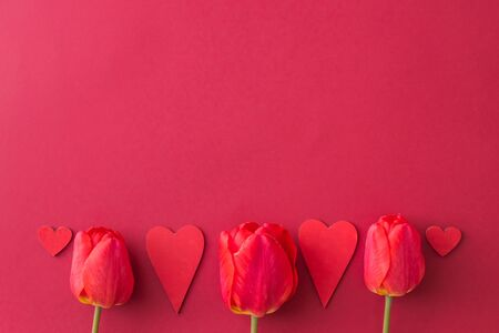 Valentines day composition with red tulips and hearts on a red background. Flat lay, top view Stock Photo - 137503418