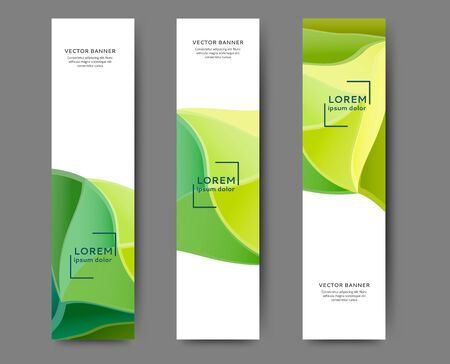 Set of abstract web banner templates with abstract lines and waves