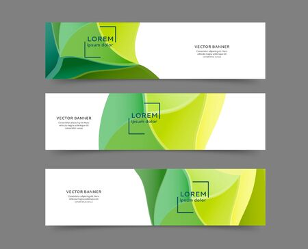 Set of abstract web banner templates with abstract lines and waves Banque d'images - 140645393