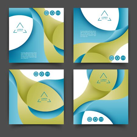 Set of square color brochures, books template with abstract lines and waves Reklamní fotografie - 140646810