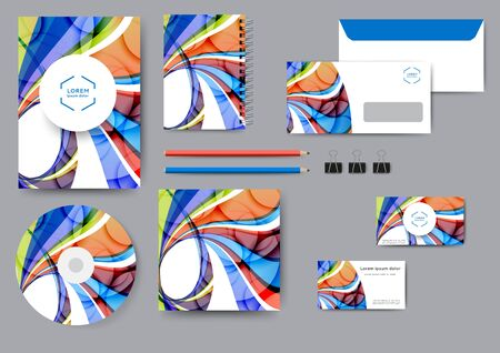 Creative corporate identity template with abstract lines and waves