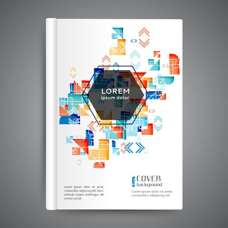 Color book design with geometric elements background