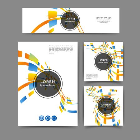 Set of color abstract brochure and banner template with geometric elements