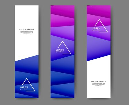 Set of abstract vertical web banner templates with geometric elements background Ilustração