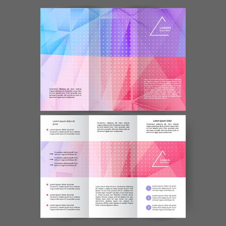 Color tri fold business brochure design with abstract gradient background Ilustração