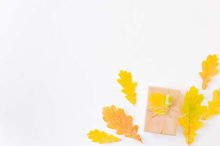 Flat lay composition with colorful autumn leaves and gift box on a white background