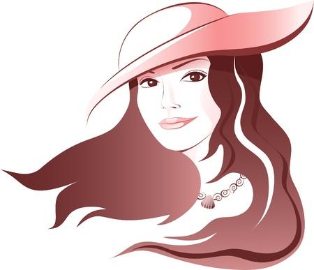 飛行の髪と帽子で美しい女性