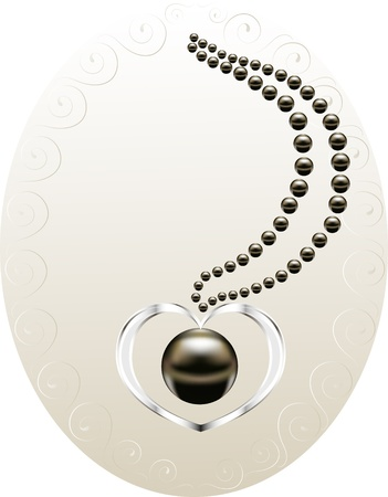 黒真珠とホワイトゴールドのハートのネックレス  イラスト・ベクター素材