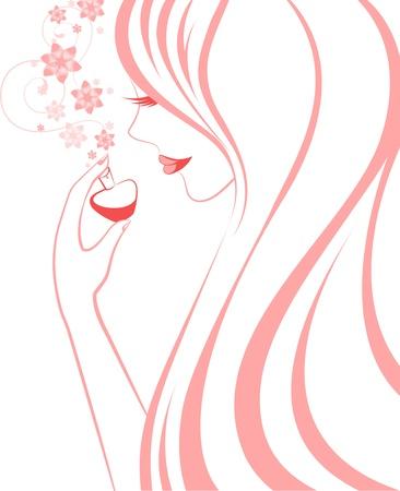 美しい若い女性が繊細な香水を呼吸しています。  イラスト・ベクター素材