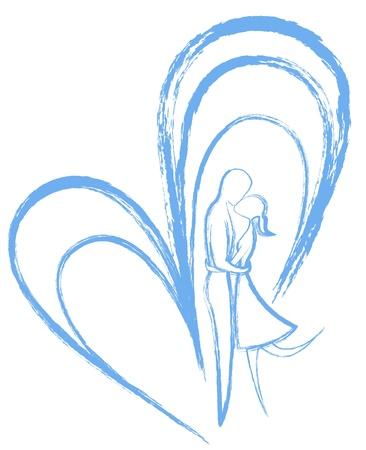 男と女は、抽象的なブルーの心の中にキスします。