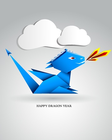 Little Origami Dragon Vector