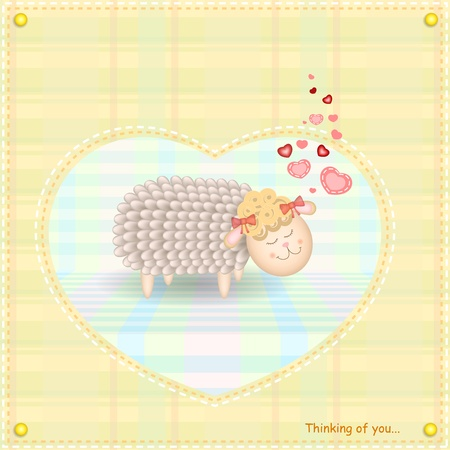 Little Sheep In Love Vector