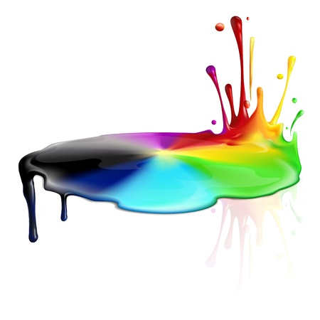 Colorful and colorless paint splashing