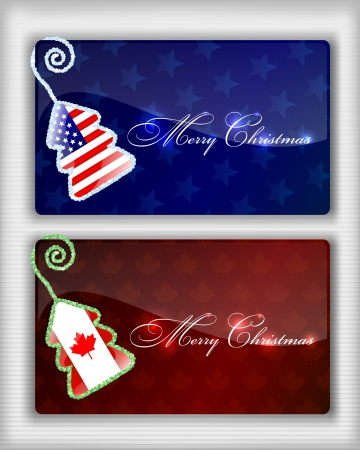 Christmas Cards with American and Canadian Flag Vector