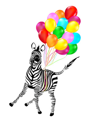 Zebra Flying Away on Balloons Illustration