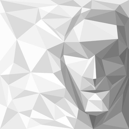 Abstract Background with Face Made of Geometric Shapes