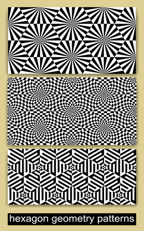 inscribed: 3 Geometric Seamless Patterns (tiling) Inscribed in Hexagon Shape. Endless texture for wallpaper, pattern fills, web page background,surface textures. Illustration