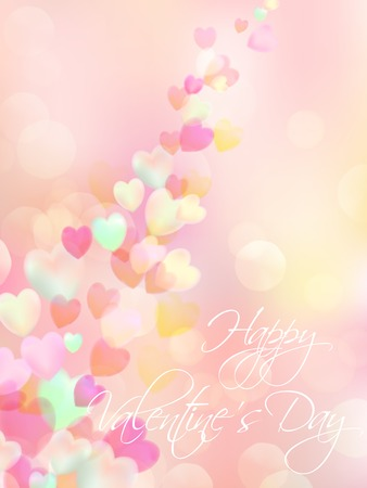 corazon: Valentine Card.Flying Hearts. Abstract Pink Background. St.Valentines Day Wallpaper.