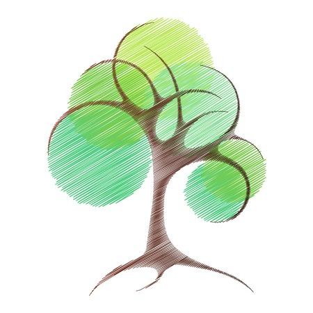 抽象的なベクトルの木。様式化された木のスケッチ。