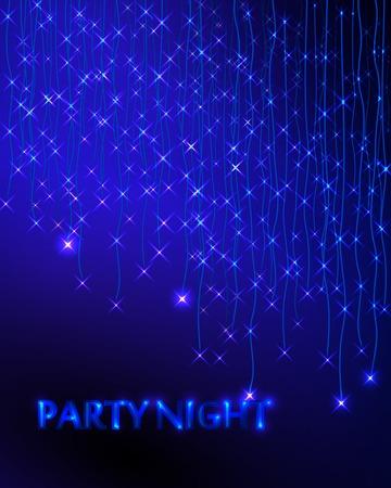 ガーランドと抽象的な背景は。青に点灯します。パーティの招待状