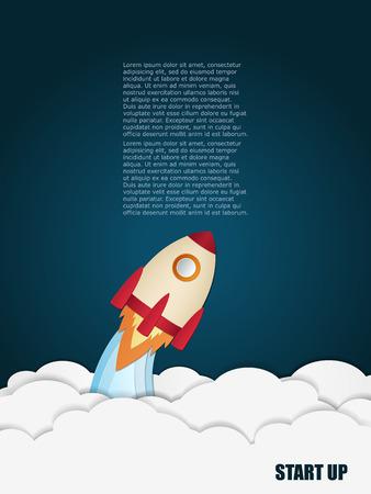 ロケット打ち上げ。概念を起動します。ベクトルの図。プレゼンテーション、web ページ、小冊子などに使用できます。  イラスト・ベクター素材