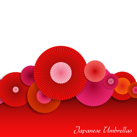 japanese: Abstract Background with Red and Pink Japanese Umbrellas. Bright Vector Background.