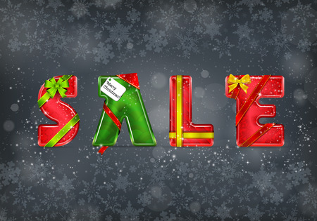 Christmas Sale. Vector 3D Letters on the Grey Background with Snowflakes